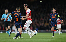Gabriel Paulista of Valencia tackles Henrikh Mkhitaryan of Arsenal - Mandatory by-line: Arron Gent/JMP - 02/05/2019 - FOOTBALL - Emirates Stadium - London, England - Arsenal v Valencia - UEFA Europa League Semi-Final 1st Leg