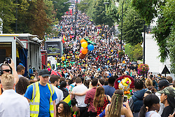 London, August 28th 2016. Thousands flood Ladbroke Grove during Family Day at Europe's biggest street party, the Notting Hill Carnival.