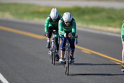 The Dartmouth College team of Arielle Filiberti, Eve McNeill, and Jen Stebbins competes in the women's division 2 race.  The 2008 USA Cycling Collegiate National Championships Team Time Trial event was held near Wellington, CO on May 9, 2008.  Teams of 3 or 4 riders raced over a 20km out and back course that ran along a service road to Interstate 25.