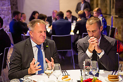 Zdravko Pocivalsek and Aleksander Ceferin at Official dinner ahead to the UEFA Futsal EURO 2018 Draw, on September 28, 2017 in Ljubljanski grad, Ljubljana, Slovenia. Photo by Vid Ponikvar / Sportida