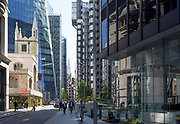 Architecture of St Mary Axe church, Lloyds of London and the Aviva insurance Building in the City of London - the capital's financial district, on 6th June 2018, in London, England.