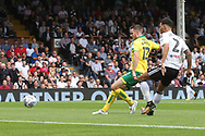Marley Watkins of Norwich has a shot on goal during the Sky Bet Championship match at Craven Cottage, London<br /> Picture by Paul Chesterton/Focus Images Ltd +44 7904 640267<br /> 05/08/2017