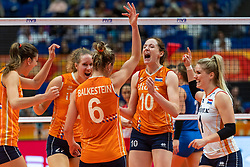 19-10-2018 JPN: Semi Final World Championship Volleyball Women day 20, Yokohama<br /> Serbia - Netherlands / Anne Buijs #11 of Netherlands, Nicole Koolhaas #22 of Netherlands, Lonneke Sloetjes #10 of Netherlands, Kirsten Knip #1 of Netherlands