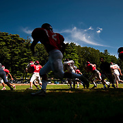 August 31, 2009 - Bronx, NY : The Riverdale Country School football team spent much of the day working out at the school's lower school campus on Monday.  Riverdale runs routes during practice.