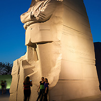 Dusk at the Martin Luther King Jr. Memorial in Washington, DC.