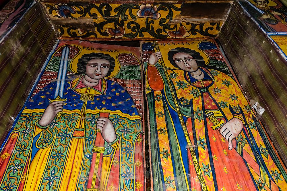 17th century frescoes, Old Church of St. Mary Zion, Axum (Aksum), Ethiopia.