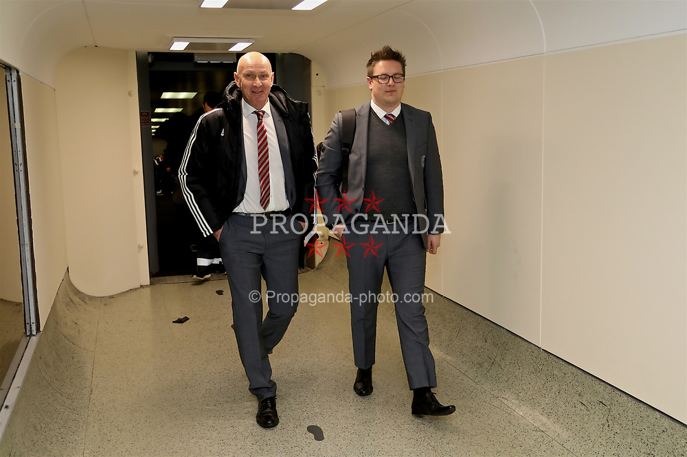 DUBLIN, REPUBLIC OF IRELAND - Thursday, March 23, 2017: Wales' head of pubic affairs Ian Gwyn Hughes and Rob Dowling arrive at Dublin Airport ahead of the 2018 FIFA World Cup Qualifying Group D match against Republic of Ireland. (Pic by David Rawcliffe/Propaganda)