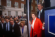 British Prime Minister, John Major and wife Norma emerge from the Conservative party election Battle Bus to greet supporters and reporters outside Central Office on 20th March 1992 in Smith's Square, London England. Major went on to win the election and was the fourth consecutive victory for the Conservative Party although it was its last outright win until 2015 after Labour's 1997 win for Tony Blair.