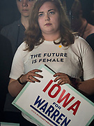 03 MAY 2019 - AMES, IOWA: Women at Iowa State University in Ames listen to Sen. Elizabeth Warren during a campaign appearance. About 400 people attended the event. Sen. Warren is campaigning in Iowa Friday and Saturday to promote her bid to be the Democratic candidate for the US Presidency. Iowa traditionally hosts the the first selection event of the presidential election cycle. The Iowa Caucuses will be on Feb. 3, 2020.              PHOTO BY JACK KURTZ