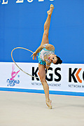 Neta Rivkin during qualifying at hoop in Pesaro World Cup at Adriatic Arena on 26 April 2013. Neta was born on June 23, 1991 in Petah Tiqwa Israel. <br />