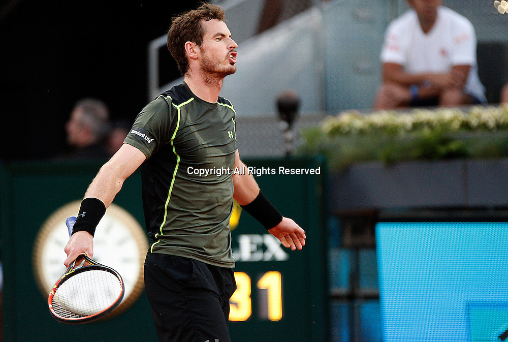 09.05.2015 Madrid, Spain.Andy Murray in action against  Kei Nishikor in the semi-final of the Madrid Open tennis.  Murray produced an excellent display to beat the fourth seed 6-3 6-4.