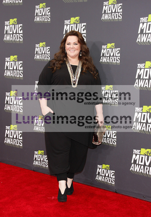 Melissa McCarthy at the 2013 MTV Movie Awards held at the Sony Pictures Studios in Los Angeles, USA on April 14, 2013.