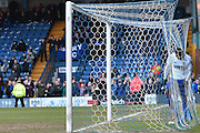 Bury Forward, Leon Clarke ends up in the net after a last goal scoring opportunity during the Sky Bet League 1 match between Bury and Bradford City at the JD Stadium, Bury, England on 5 March 2016. Photo by Mark Pollitt.