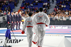November 10, 2018 - Madrid, Madrid, Spain - Iran Team and Spain Team for the bronce medal and the third place of Female Kumite for Team tournament during the Finals of Karate World Championship celebrates in Wizink Center, Madrid, Spain, on November 10th, 2018. (Credit Image: © AFP7 via ZUMA Wire)
