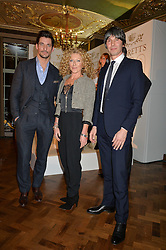 Left to right, DAVID GANDY, KELLY HOPPEN and PROF.BRIAN COX at a reception to celebrate the Debrett's 500 2015 - a recognition of Britain's 500 most influential people, held at The Club at The Cafe Royal, 68 Regent Street, London on 26th January 2015.