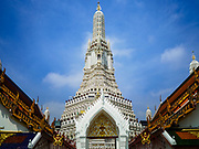 "11 SEPTEMBER 2017 - BANGKOK, THAILAND: The main Khmer style prang (chedi) at Wat Arun. Renovations are nearly finished at Wat Arun on the Thonburi side of the Chao Phraya River in Bangkok. Wat Arun is famous for its Khmer style main ""prang"" (chedi). It was originally built in the Ayutthaya Period and rebuilt to its current form in the time of Rama II.       PHOTO BY JACK KURTZ"