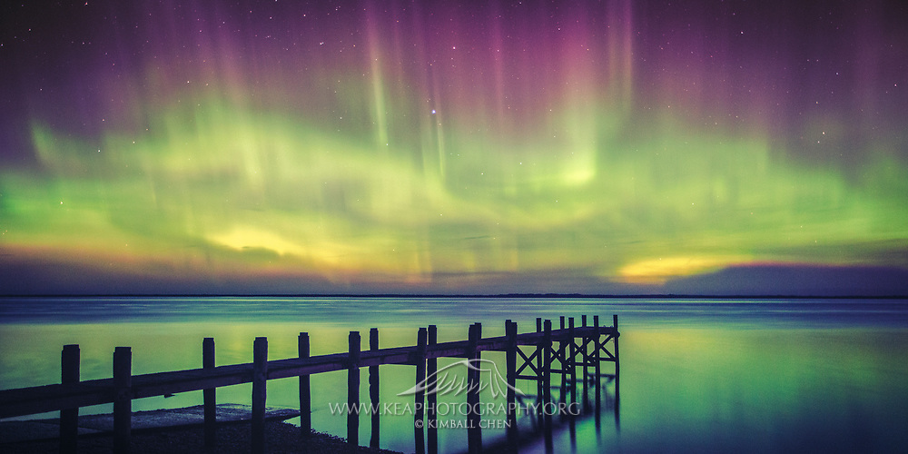 An unusually strong magnetic storm yielded an undulating Aurora Australis, complete with beams and also unfurling ribbons.  This image was taken at an abandoned pier at Awarua Bay, Southland, New Zealand, on March 28th 2017