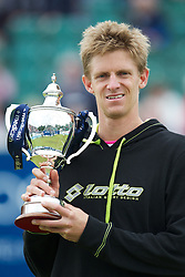 LIVERPOOL, ENGLAND - Saturday, June 23, 2012: Kevin Anderson (RSA) with the Boodles Trophy after winning the Men's Final 6-3, 1-6, 10-7 on day three of the Medicash Liverpool International Tennis Tournament at Calderstones Park. (Pic by David Rawcliffe/Propaganda)