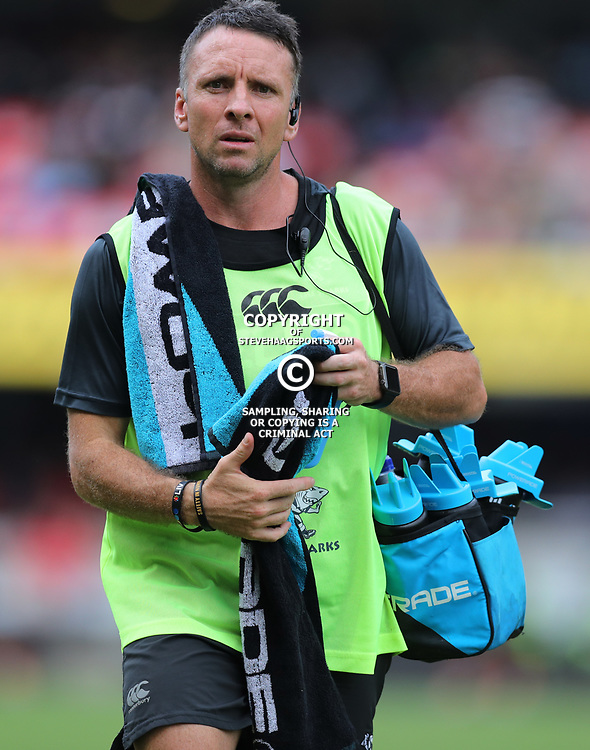 Johan Pretorius Head Strength & Conditioning Coach during the Super Rugby match between the Cell C Sharks and the Jaguares  April 8th 2017 - at Growthpoint Kings Park,Durban South Africa Photo by (Steve Haag)