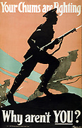 World War I 1914-1918: British Army recruitment poster, 1917.  'Your Chums are Fighting. Why aren't You?' Silhouette of soldiers, bayonets drawn, advancing into battle.