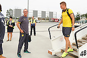 Lukasz Piszczek of Dorussia Dortmund on Wroclaw's airport before international friendly soccer match between WKS Slask Wroclaw and BVB Borussia Dortmund on Municipal Stadium in Wroclaw, Poland.<br /> <br /> Poland, Wroclaw, August 6, 2014<br /> <br /> Picture also available in RAW (NEF) or TIFF format on special request.<br /> <br /> For editorial use only. Any commercial or promotional use requires permission.<br /> <br /> Mandatory credit:<br /> Photo by &copy; Adam Nurkiewicz / Mediasport