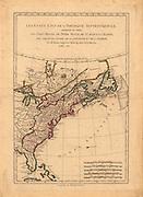 Les États Unis de l'Amérique septentrionale, contenant en outre, les Isles Royale, de Terre Neuve, de St. Jean et l'Acadie; avec partie du Canada, de la Louisiane et de la Floride. Par M. Bonne, ingénieur-hydrographe de la marine. .Bonne, Rigobert, 1727-1794. Maps of North America, 1750-1789, 742.