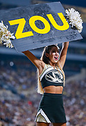 WEST LAFAYETTE, IN - SEPTEMBER 15: A Missouri Tigers cheerleader is seen during the game against the Purdue Boilermakers at Ross-Ade Stadium on September 15, 2018 in West Lafayette, Indiana. (Photo by Michael Hickey/Getty Images) NCAA Football - Purdue Boilermakers vs Missouri Tigers at Ross-Ade Stadium in West Lafayette, Indiana. Sports photographer by Michael Hickey