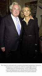 Film director MR MICHAEL WINNER and MISS GEORGINA HRISTOV, at a party in London on 18th October 2001.	OTE 41