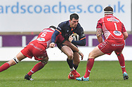 Matt Scott of Edinburgh is tackled by Aaron Shingler of Scarlets<br /> <br /> Photographer Craig Thomas/Replay Images<br /> <br /> Guinness PRO14 Round 11 - Scarlets v Edinburgh - Saturday 15th February 2020 - Parc y Scarlets - Llanelli<br /> <br /> World Copyright © Replay Images . All rights reserved. info@replayimages.co.uk - http://replayimages.co.uk