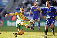 Leicester - Saturday, February 16th, 2008: Jamie Claphan (R) of Leicester City and Ched Evans (L) of Norwich City during the Coca Cola Champrionship match at the Walkers Stadium, Leicester. (Pic by Mark Chapman/Focus Images)