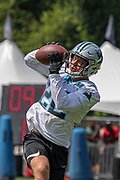 Carolina Panthers running back Christian McCaffrey (22)  catches a pass during training camp at Wofford College, Sunday, August 11, 2019, in Spartanburg, S.C. (Brian Villanueva/Image of Sport)