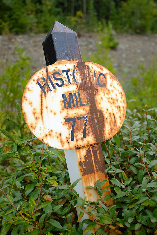 A historic mile marker slowly fades away