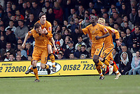 Photo: Kevin Poolman.<br />Luton Town v Wolverhampton Wanderers. Coca Cola Championship. 03/03/2007. Gary Breen (no5), Stephen Ward and Seyi Olofinjana (no4) of Wolves celebrate their first goal.