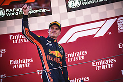 May 12, 2019 - Barcelona, Catalonia, Spain - MAX VERSTAPPEN (NED) from team Red Bull greets the fans from the podium after finishing third at the Spanish GP presenting his cup on the podium at the Circuit de Barcelona - Catalunya (Credit Image: © Matthias Oesterle/ZUMA Wire)