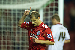 LIVERPOOL, ENGLAND - Wednesday, September 22, 2010: Liverpool's Milan Jovanovic celebrates scoring his first goal for the club, to open the scoring against Northampton Town during the Football League Cup 3rd Round match at Anfield. (Photo by David Rawcliffe/Propaganda)