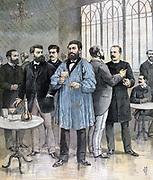 Members of French Chamber of Deputies, left to right: MM Basry, Pelletan, Millerand,  Thivrier, Le Senne, Laguerre, Rivet, De Cassagnac. From 'Le Petit Journal', Paris, 5 November 1892. France, Politics, Politician, Government