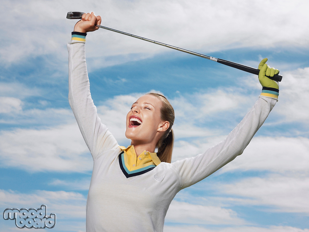 Happy Golfer Holding Club