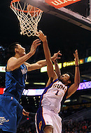 Dec. 5 2010; Phoenix, AZ, USA; Phoenix Suns guard Josh Childress (1) puts up a basket during the second half against Washington Wizards forward Yi Jianlian (31) at the US Airways Center. The Suns defeated the Wizards 125-108. Mandatory Credit: Jennifer Stewart-US PRESSWIRE.