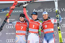 26.10.2019, Kandahar, Garmisch, GER, FIS Weltcup Ski Alpin, Abfahrt, Herren, Siegerehrung, im Bild Aleksander Aamodt Kilde (NOR) Thomas Dressen (GER) Johan Clarey (FRA) // Aleksander Aamodt Kilde of Norway Thomas Dressen of Germany Johan Clarey of France during the winner ceremony for the men's downhill of FIS Ski Alpine World Cup at the Kandahar in Garmisch, Germany on 2019/10/26. EXPA Pictures © 2020, PhotoCredit: EXPA/ Erich Spiess