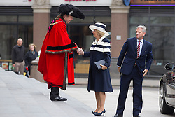 © Licensed to London News Pictures. 22/05/2013. London, UK. The Lord Mayor of London greets the Duchess of Cornwall as she arrives at St Paul's Cathedral in London today (22/05/2013) to attend a service of thanksgiving to celebrate the 75th anniversary of the Royal Voluntary Service (RVS). The RVS, previously known as the Women's Royal Voluntary Service (WRVS), is a charity organisation that helps older people live independent lives across Great Britain. Photo credit: Matt Cetti-Roberts/LNP