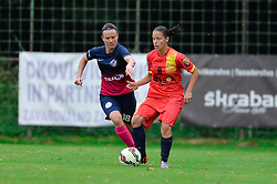 Tjasa Tibaut of ZNK Pomurje vs. Ştefania Vatafu of Olimpia Cluj Napoca during the UEFA Women's Champions League Qualifying Match between ZNK Teleing Pomurje (SLO) and Olimpia Cluj (ROU) at Sportni Park on August 16, 2015 in Beltinci, Slovenia. Photo by Mario Horvat / Sportida