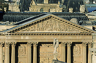 France. Paris. 1st district. Elevated view. The Louvre museum, and the tower  view from St Germain L'auxerrois church (1st)