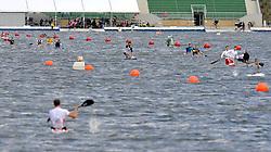 ATHLETES WHILE THEIR WARM UP SESSION ON MALTA LAKE DURING 2010 ICF KAYAK SPRINT WORLD CHAMPIONSHIPS IN POZNAN, POLAND...POLAND , POZNAN , AUGUST 19, 2010..( PHOTO BY ADAM NURKIEWICZ / MEDIASPORT ).