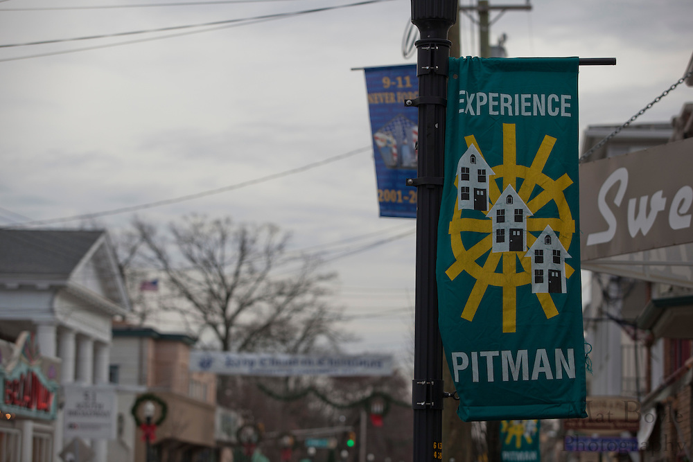 """The """"Keep Christ is Christmas Banner""""  sponsored by Knights of Columbus 6247 hangs over Broadway in downtown Pitman, NJ on   Thursday December 15, 2011. (photo / Mat Boyle)"""