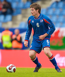 REYKJAVIK, ICELAND - Wednesday, May 28, 2008: Iceland's Aron Gunnarsson during the international friendly match against Wales at the Laugardalsvollur Stadium. (Photo by David Rawcliffe/Propaganda)
