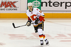 Jan 17, 2012; San Jose, CA, USA; Calgary Flames right wing Tom Kostopoulos (16) warms up before the game against the San Jose Sharks at HP Pavilion. San Jose defeated Calgary 2-1 in shootouts. Mandatory Credit: Jason O. Watson-US PRESSWIRE