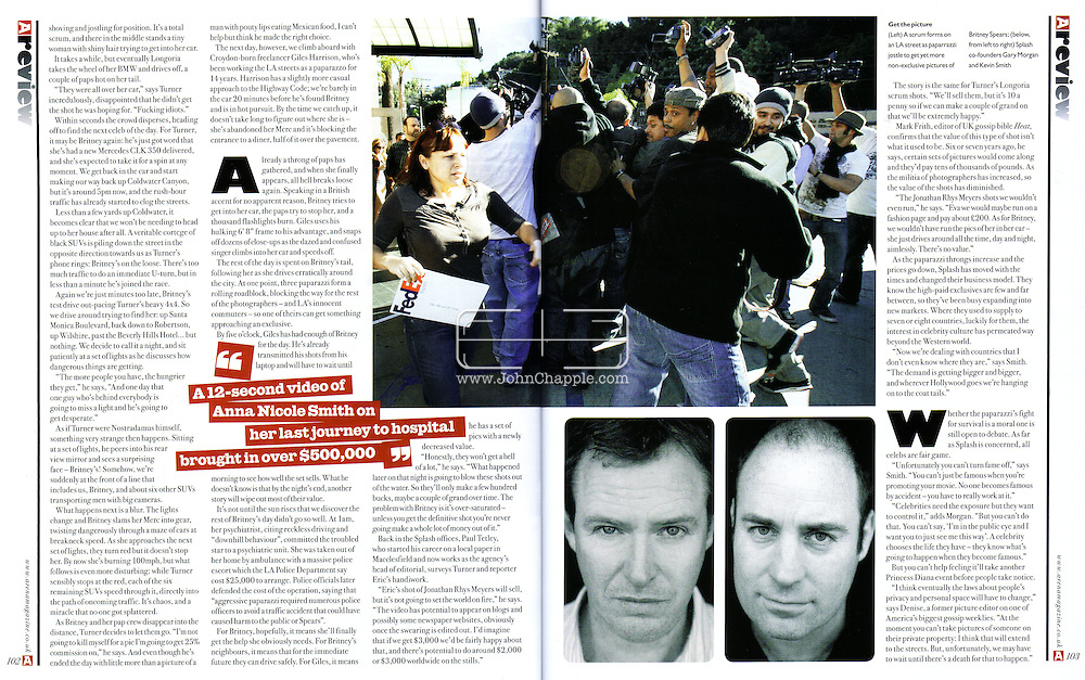 Arena Magazine (UK) April 2008..30th January 2008, Los Angeles, California.  Paparazzi photographer swarm and fight to get a non exclusive photo of Britney Spears leaving a restaurant. PHOTO © JOHN CHAPPLE / REBEL IMAGES.john@chapple.biz    www.chapple.biz
