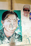 Mural in small village of Jayalalitha, Chief Minister of Tamil Nadu, wife of famous actor, M.G. Ramachandran.