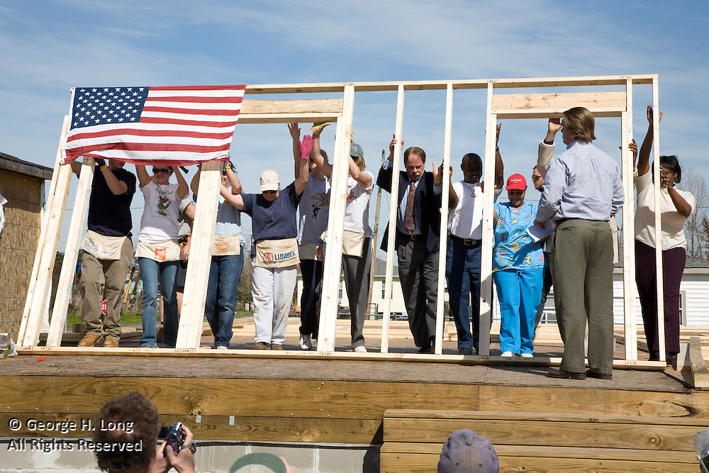 Wall raising ceremony with Delaware North for Habitat for Humanity in Harvey, Louisiana on 2/19/08