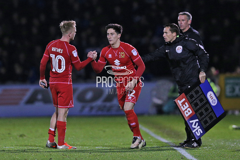 MK Dons substitution George B Williams (12) comes on for Ben Reeves (10) during the EFL Sky Bet League 1 match between Bristol Rovers and Milton Keynes Dons at the Memorial Stadium, Bristol, England on 19 November 2016. Photo by Gary Learmonth.
